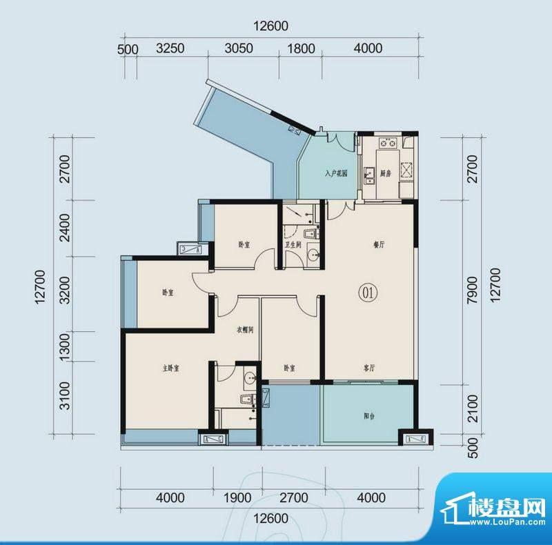 时代山湖海户型图33-36栋201-3面积:140.05平米
