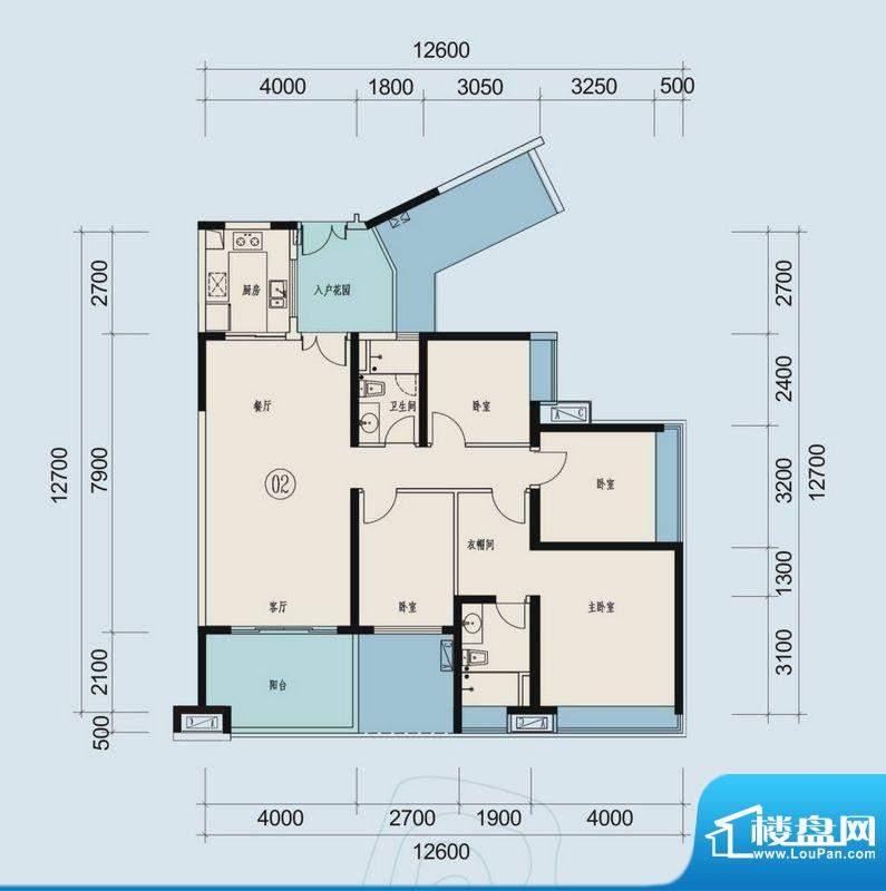 时代山湖海户型图33-36栋202-3面积:140.05平米