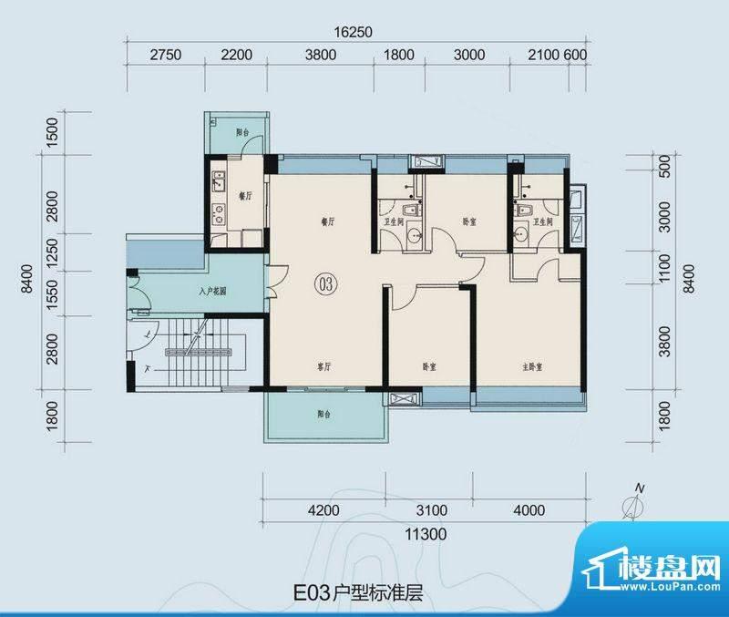 时代山湖海户型图33-36栋203-3面积:125.31平米