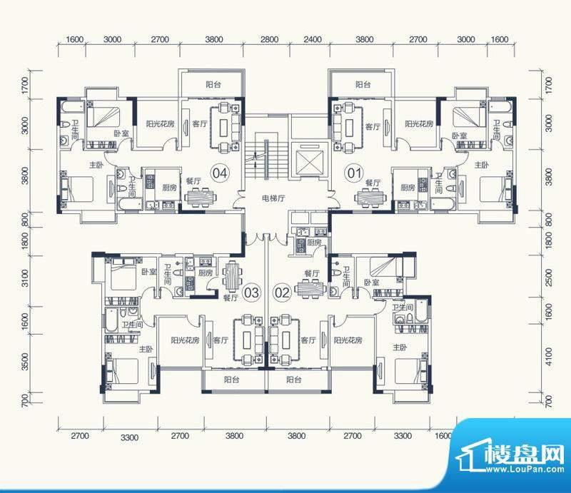 怡泰雅苑户型图1栋-2单元平面图