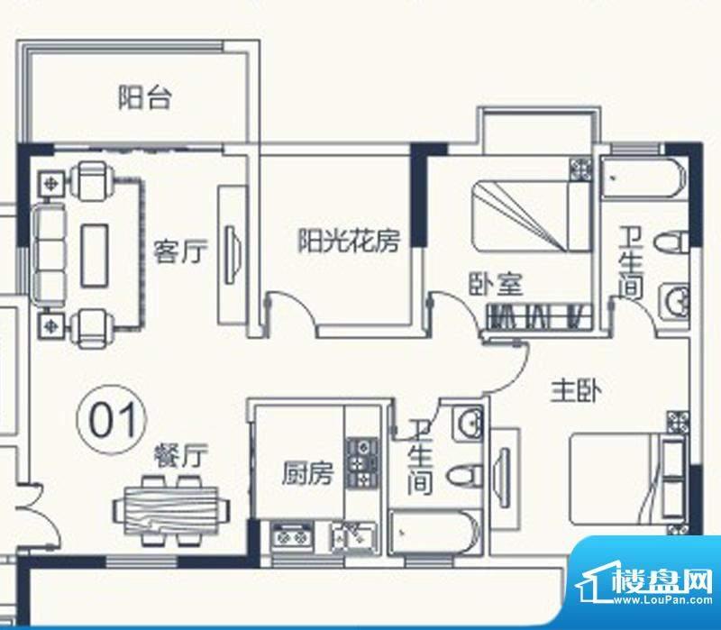 怡泰雅苑户型图1栋-2单元-01户面积:90.02平米