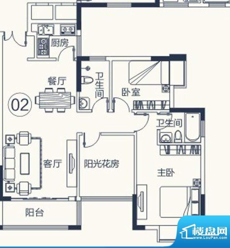 怡泰雅苑户型图1栋-2单元-02户面积:86.25平米