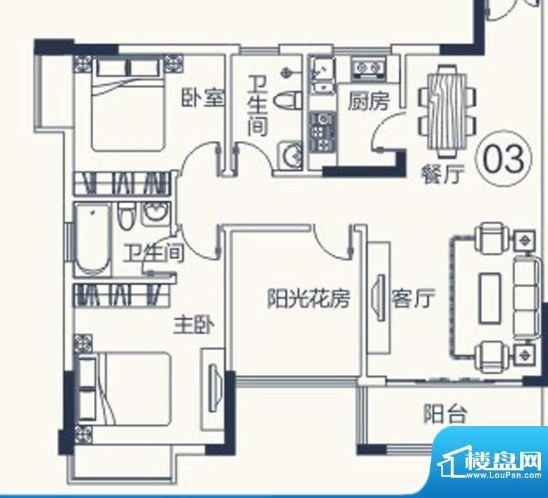 怡泰雅苑户型图1栋-2单元-03户面积:85.87平米