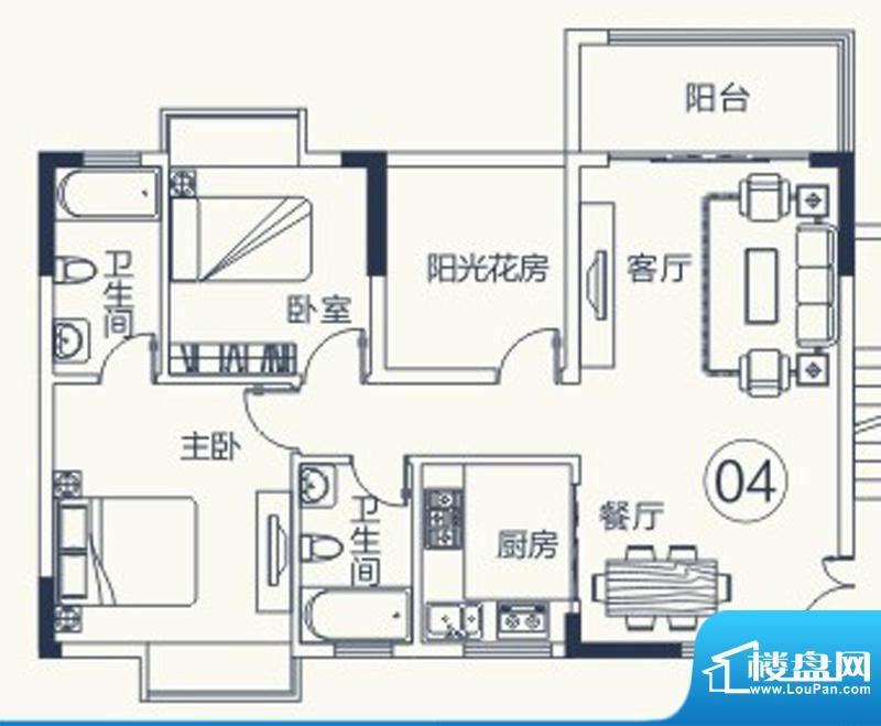 怡泰雅苑户型图1栋-2单元-04户面积:89.76平米