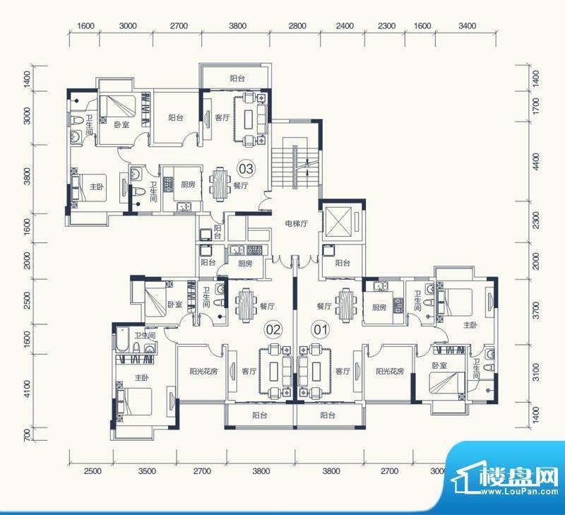 怡泰雅苑户型图1栋-1单元平面图