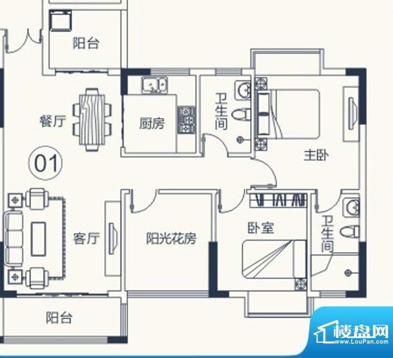 怡泰雅苑户型图1栋-1单元01户型面积:96.19平米