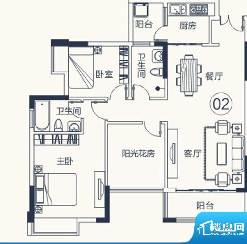 怡泰雅苑户型图1栋-1单元02户型面积:93.57平米