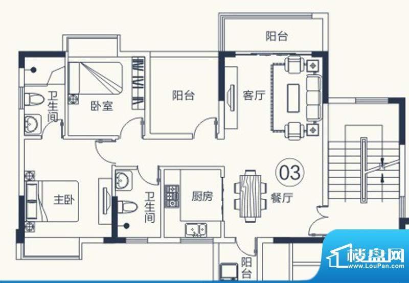 怡泰雅苑户型图1栋-1单元03户型面积:93.58平米