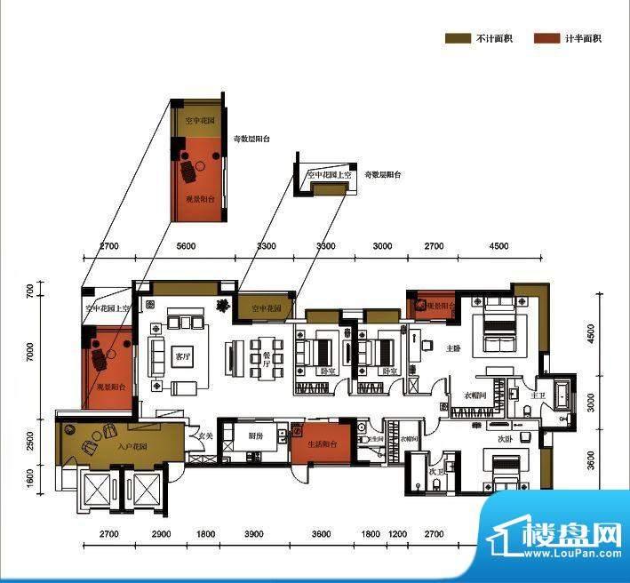 锦园户型图3栋1单元01户型 4室面积:246.48平米