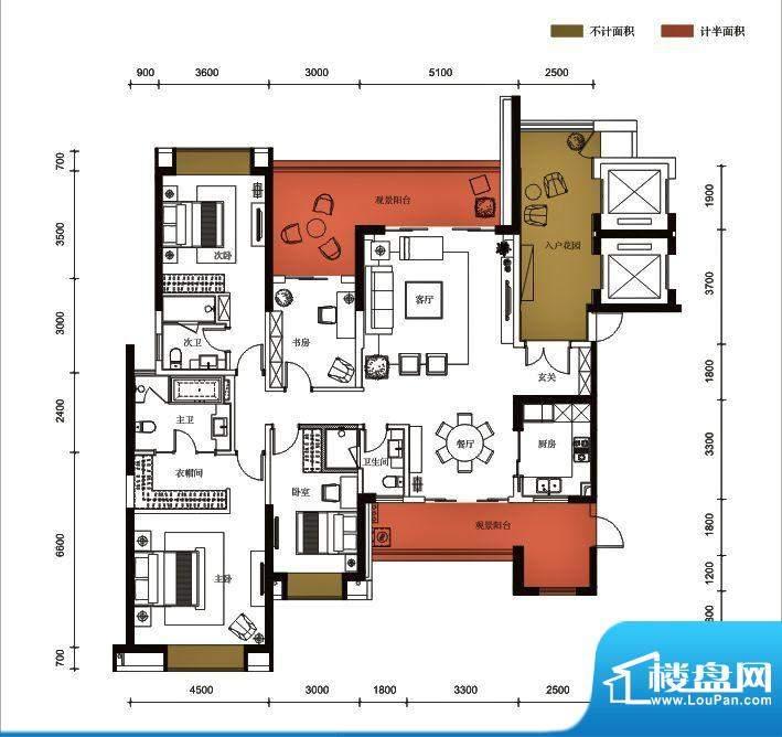 锦园户型图3栋1单元02户型 4室面积:214.44平米