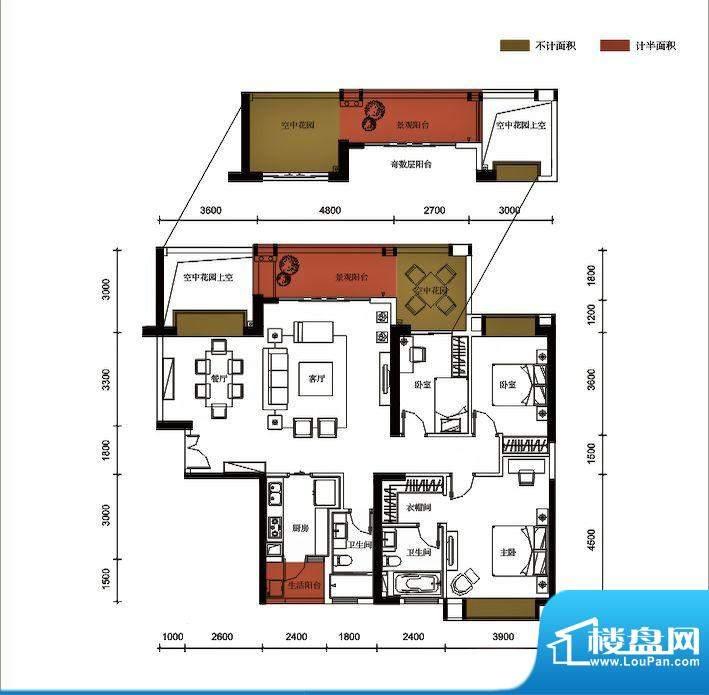 锦园户型图3栋1单元03户型 3室面积:153.03平米