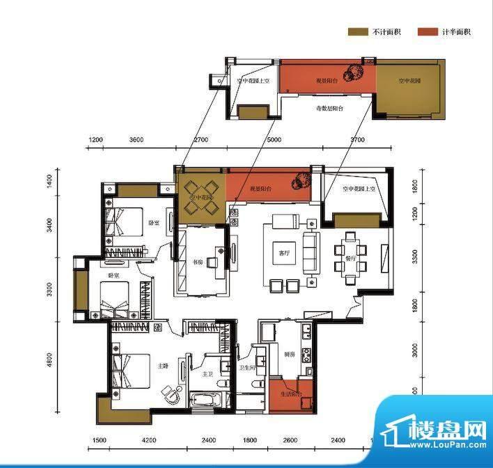 锦园户型图3栋1单元04户型 4室面积:177.11平米