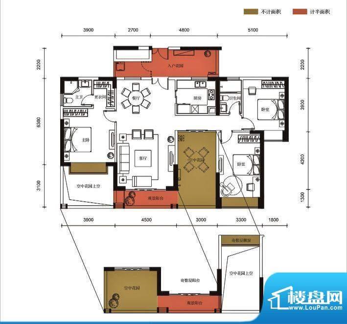 锦园户型图3栋1单元05户型 3室面积:141.72平米