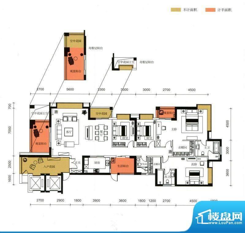 锦园户型图3栋1单元01户型 4室面积:264.48平米