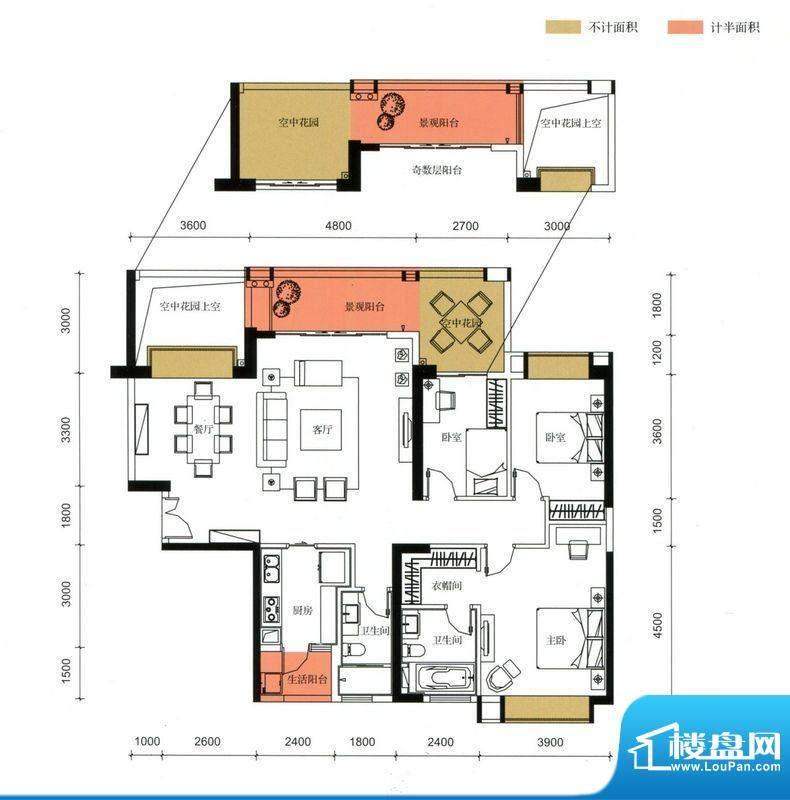 锦园户型图3栋2单元01户型 3室面积:153.03平米