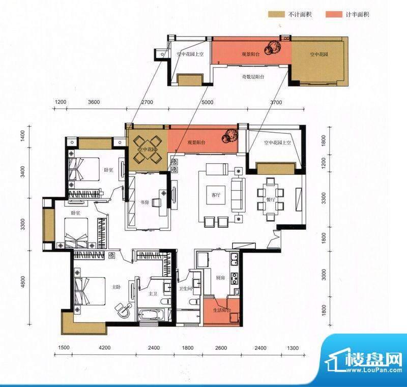 锦园户型图3栋2单元02户型 4室面积:177.11平米
