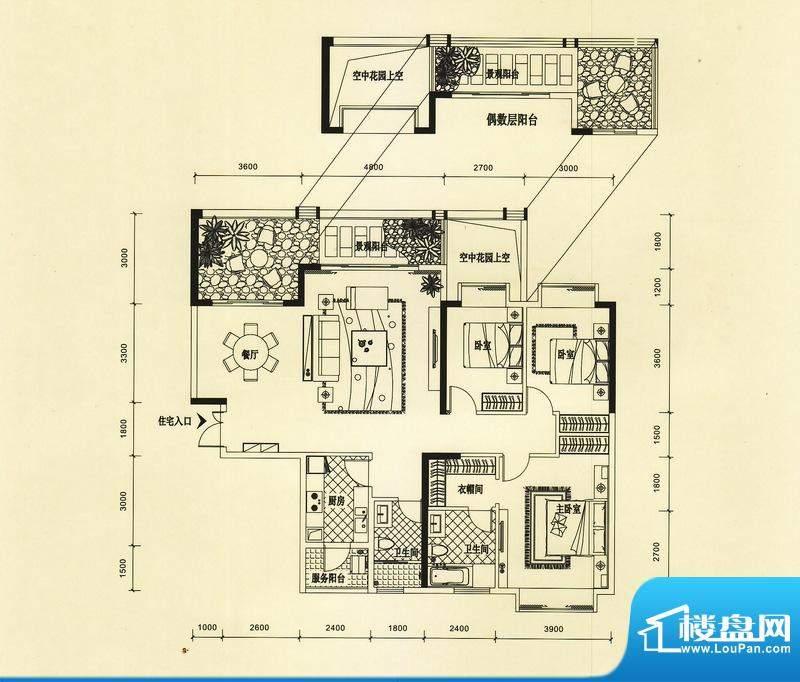 锦园户型图2/3栋二单元01户型 面积:153.03平米