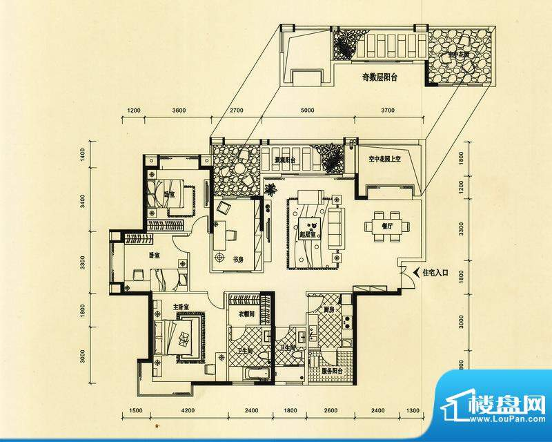 锦园户型图2/3栋二单元02户型 面积:177.11平米