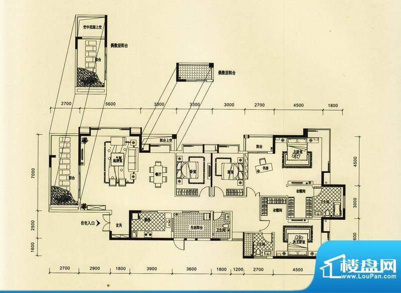 锦园户型图2/3栋一单元01户型 面积:264.48平米