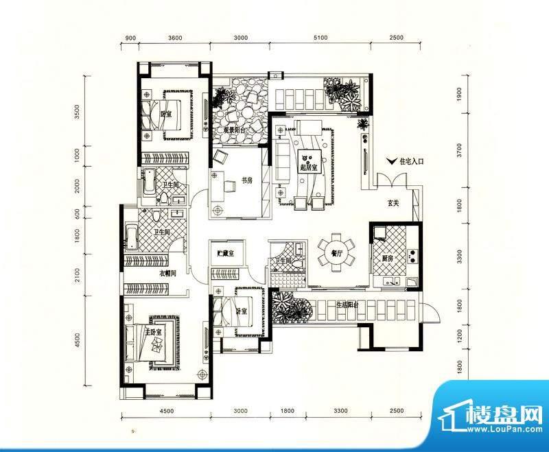 锦园户型图2/3栋一单元02户型 面积:214.44平米