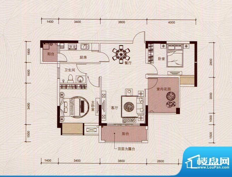 京华假日湾户型图3、5栋2单元0面积:89.35平米