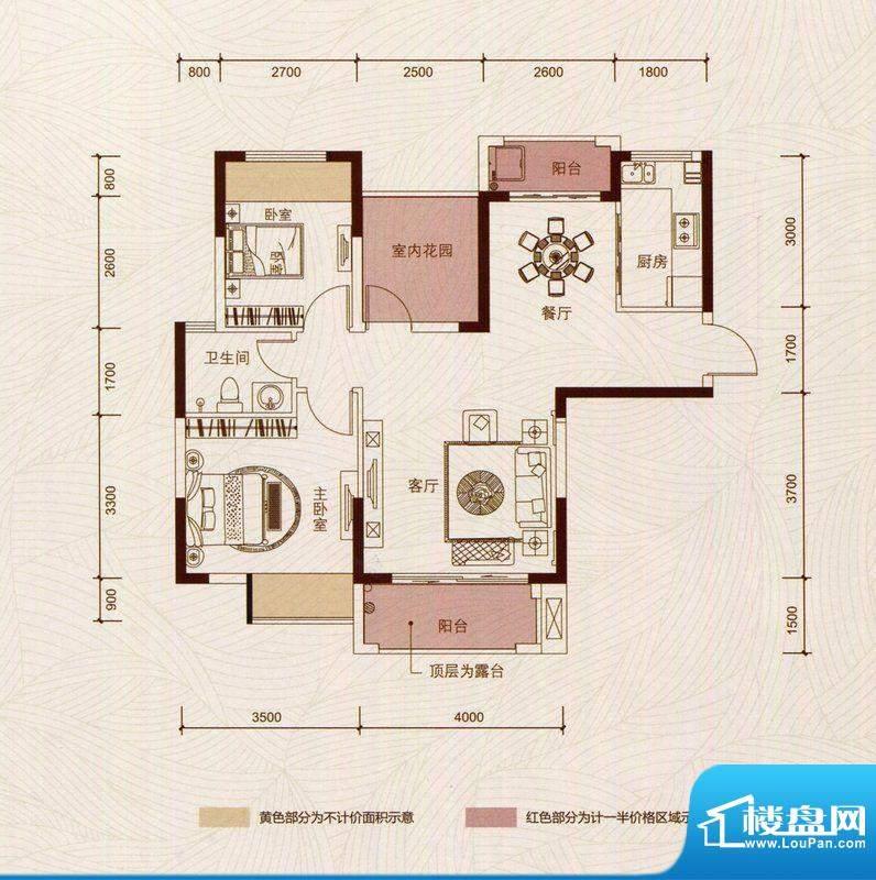 京华假日湾户型图3、5栋2单元0面积:89.03平米