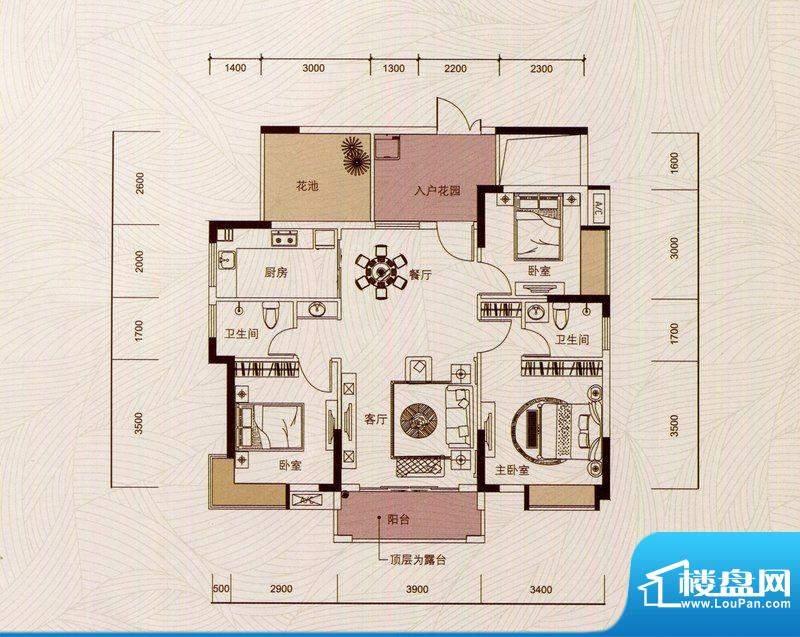 京华假日湾户型图4、6栋02房(面积:101.88平米