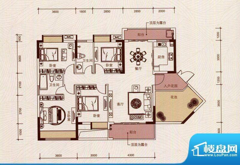 京华假日湾户型图4、6栋01房(面积:120.99平米