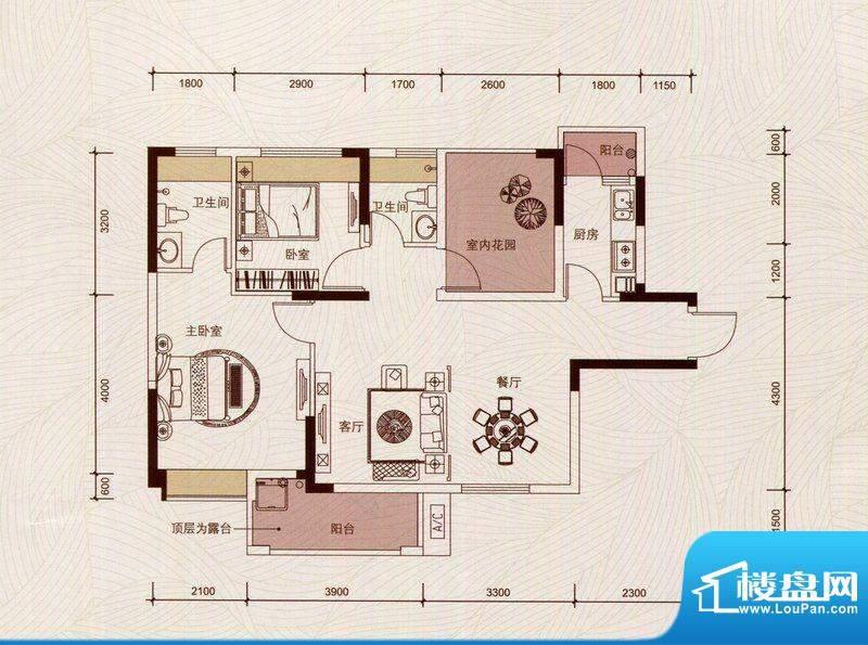 京华假日湾户型图7栋1单元01房面积:86.38平米