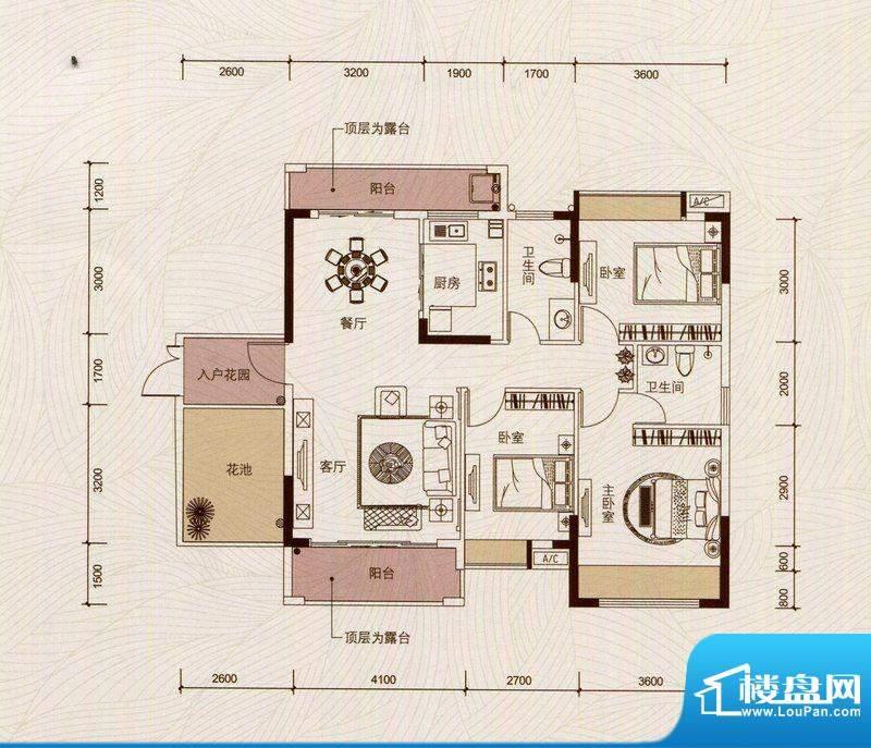 京华假日湾户型图4、6栋03房(面积:109.27平米