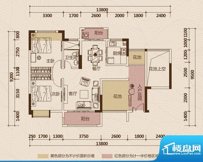 京华假日湾户型图1栋1、2单元0面积:89.12平米