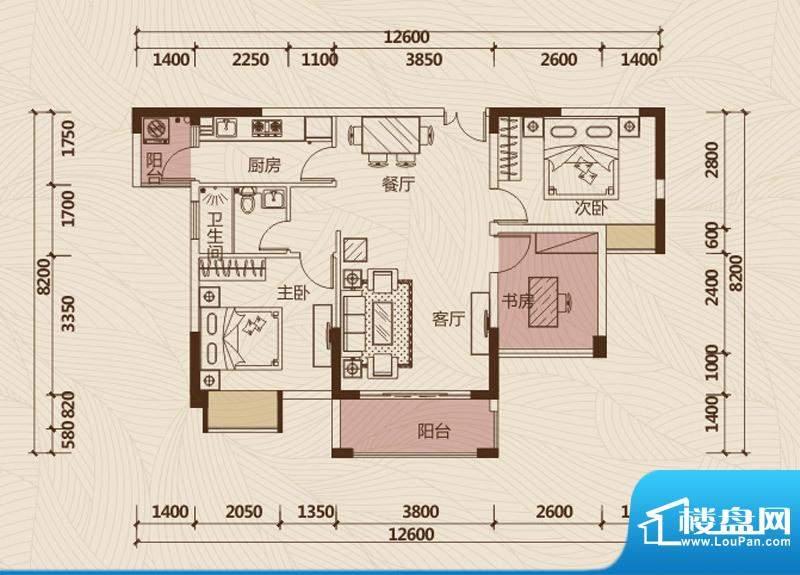 京华假日湾户型图3栋2单元02房面积:88.69平米