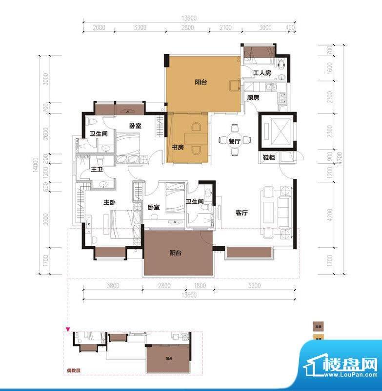 中珠九悦户型图A-1户型 3室2厅面积:153.71平米