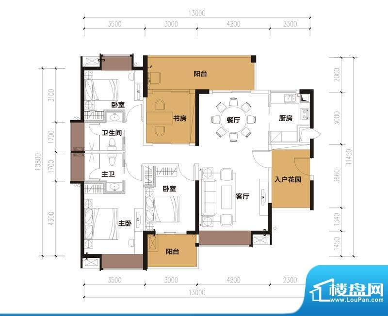 中珠九悦户型图B-1户型 3室2厅面积:142.11平米