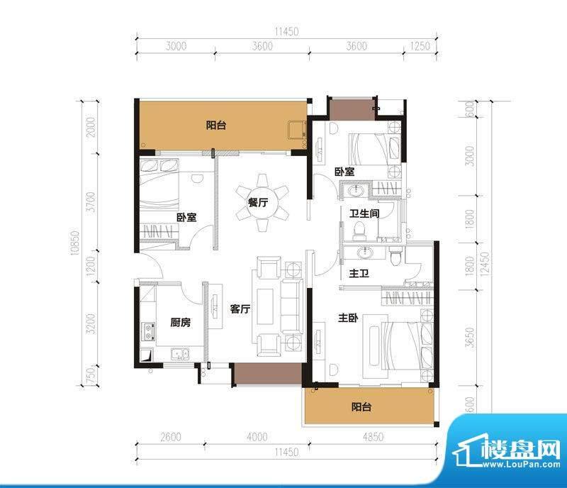 中珠九悦户型图B-2户型 3室2厅面积:134.67平米