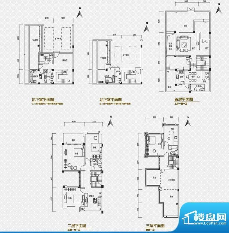 海逸雍雅堡户型图B户型 面积:236.00平米