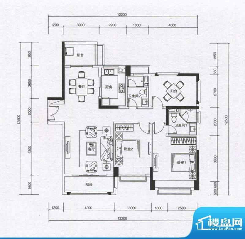 华发蔚蓝堡户型图B1户型 2室2厅面积:115.00平米