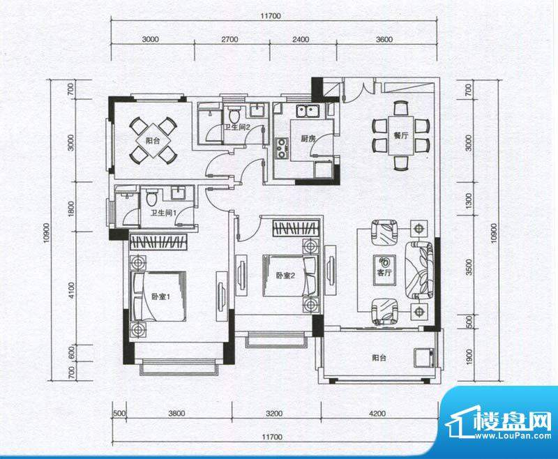华发蔚蓝堡户型图B户型 2室2厅面积:115.00平米