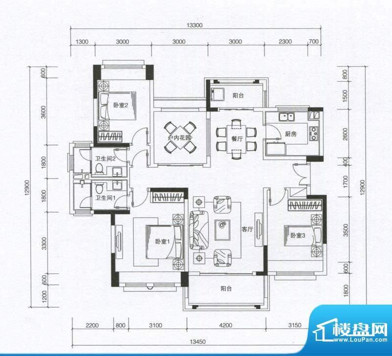 华发蔚蓝堡户型图E户型 3室2厅面积:131.00平米