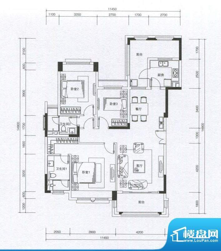 华发蔚蓝堡户型图A户型 3室2厅面积:125.00平米