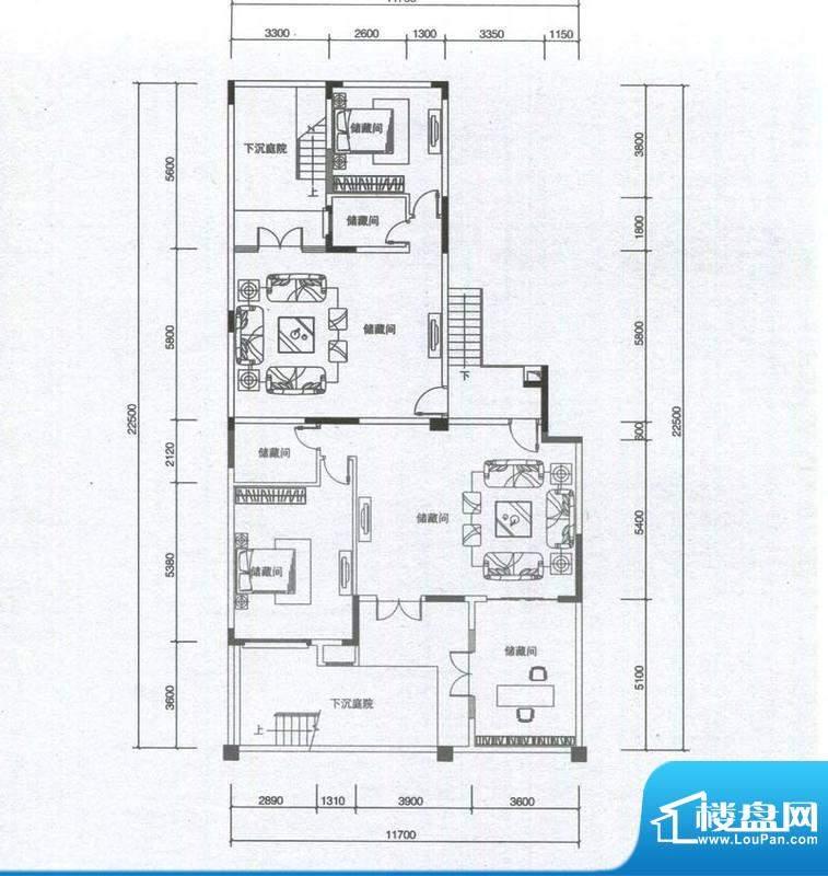 华发蔚蓝堡户型图M2户型地下室面积:169.00平米