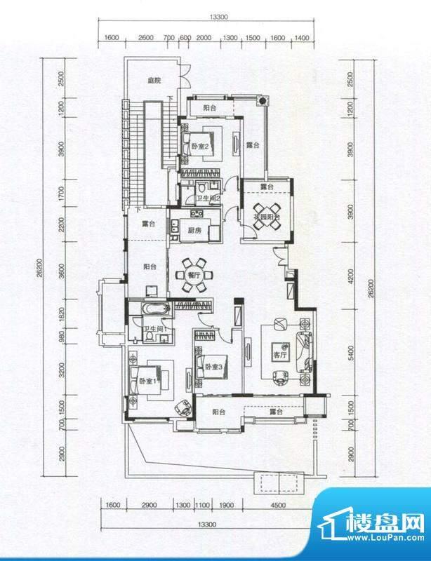 华发蔚蓝堡户型图M2户型 3室2厅面积:169.00平米