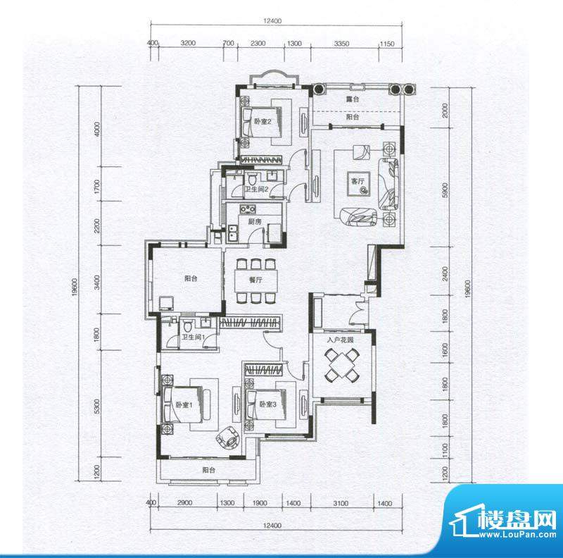 华发蔚蓝堡户型图H3户型 3室2厅面积:169.00平米