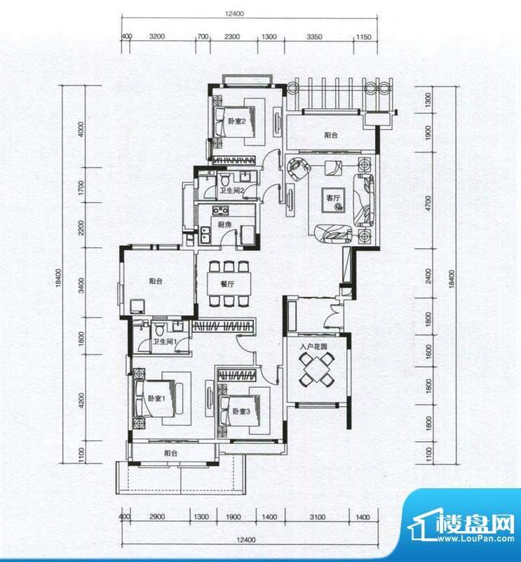 华发蔚蓝堡户型图H4户型 3室2厅面积:160.00平米