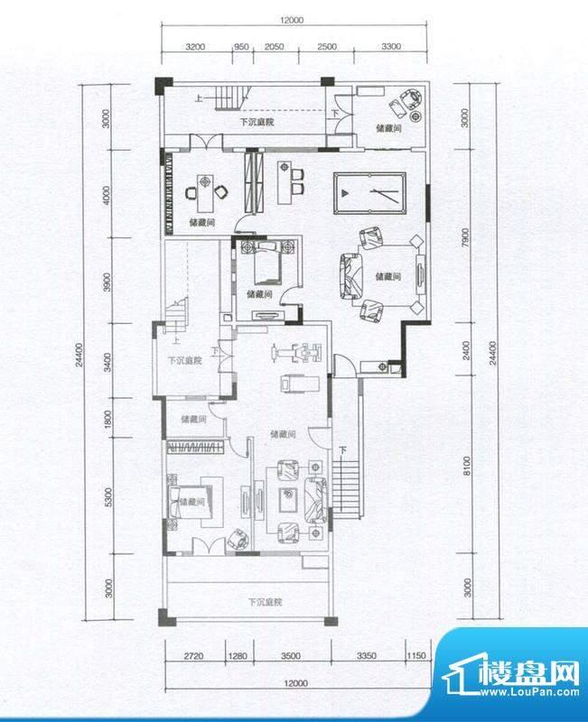 华发蔚蓝堡户型图H1户型地下室面积:176.00平米