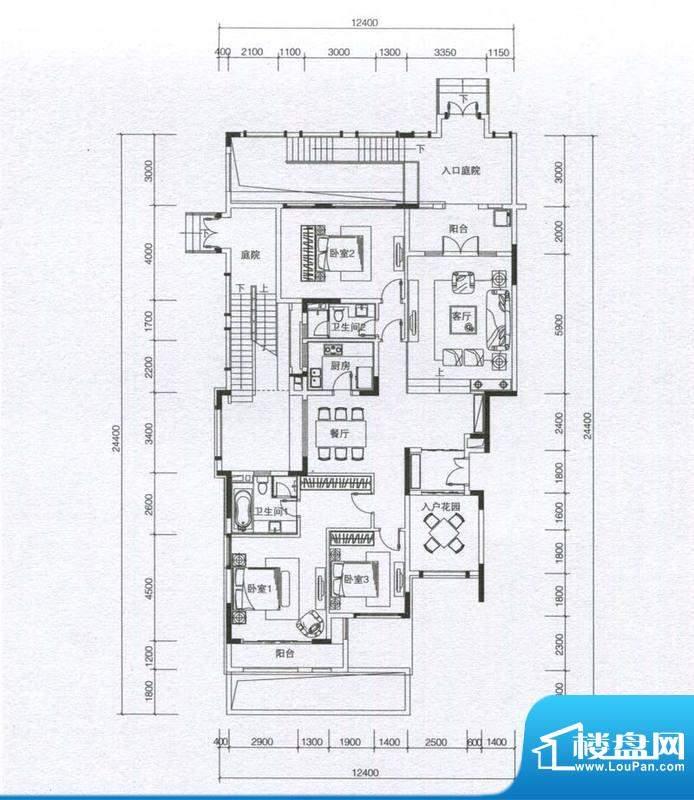 华发蔚蓝堡户型图H1户型 3室2厅面积:176.00平米