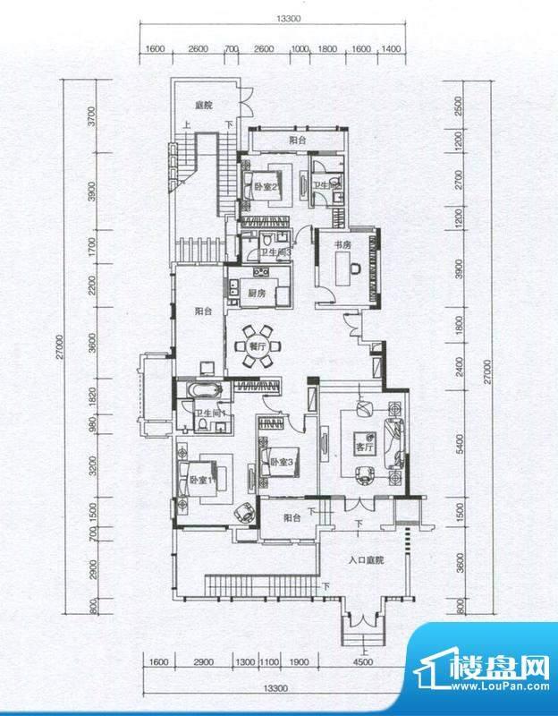华发蔚蓝堡户型图M1户型 4室2厅面积:185.00平米