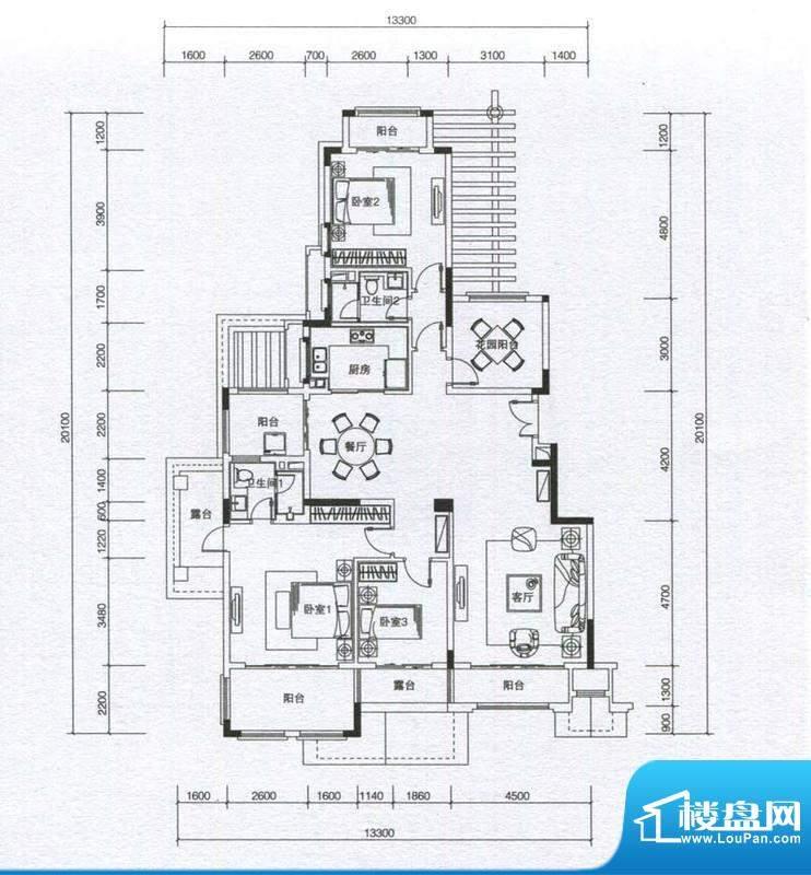 华发蔚蓝堡户型图M3户型 3室2厅面积:159.00平米