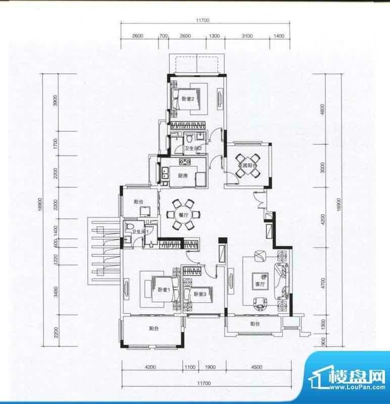 华发蔚蓝堡户型图M4户型 3室2厅面积:157.00平米