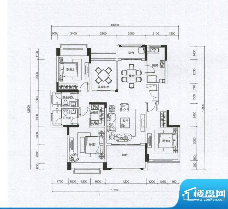 华发蔚蓝堡户型图G户型 3室2厅面积:143.00平米